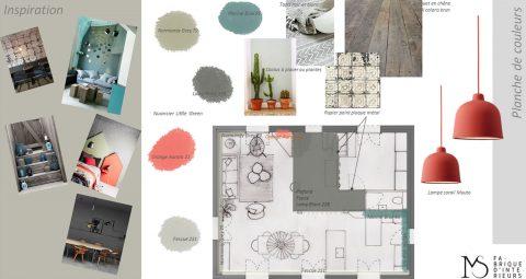 Exemple de rendu suite à notre échange, un croquis de l'espace, les couleurs à appliquer et quelques idées pour l'aménagement.