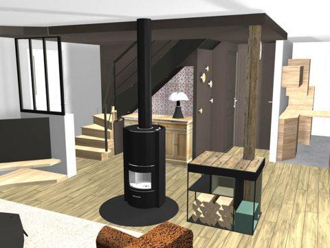 Vue pour simuler un meuble de rangement bois autour de l'UPN
