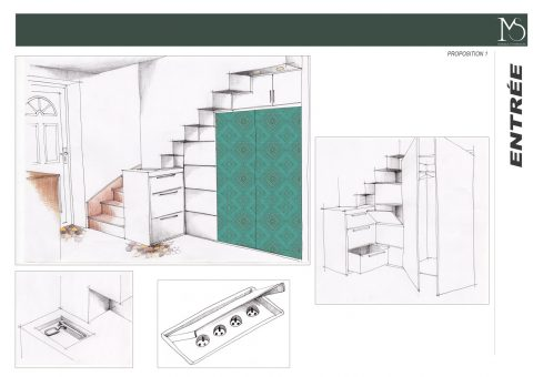 Croquis des rangements sous l'escalier de la solution 1