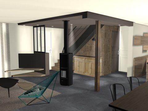 Vue 3D d'une configuration différente pour le faux plafond.
