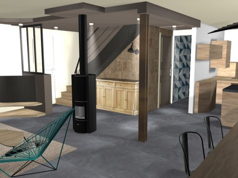 Vue 3D d'une configuration différente pour le faux plafond