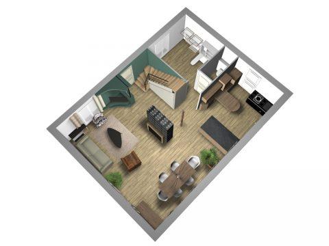 Vue du plan en 3D de la solution 2