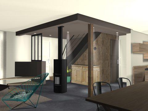 Vue 3D du projet retenu. Faux plafond foncé avec un caisson pour intégrer l'UPN.