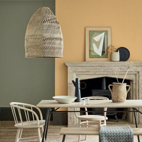 Les couleurs Little Greene : sage green et mortlake pour une salle à manger