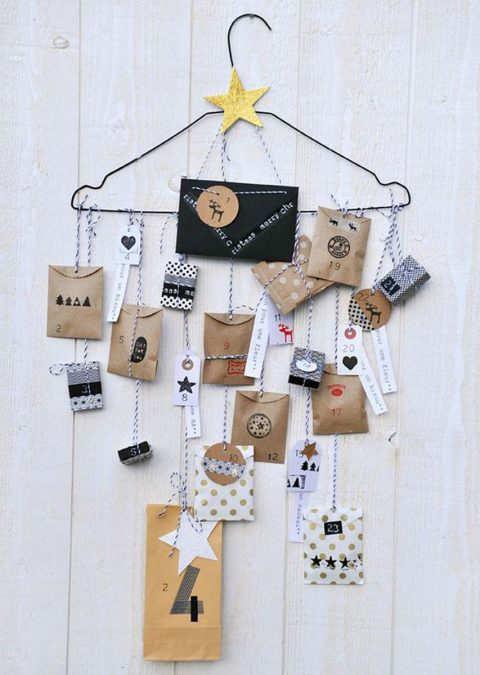 Un cintre pour accrocher son calendrier de l'avent. Original à condition de ne pas mettre de présents trop lourd !!!! ;)