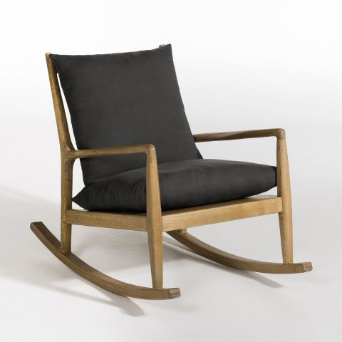 Rocking Chair de AM-PM gris anthracite et bois au desing simple élégant et intemporel.