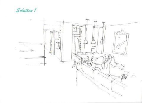 Perspective du projet n°1, vue des baies vitrées.