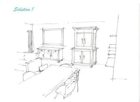 Perspective du Projet n°1, vue de la salle à manger.