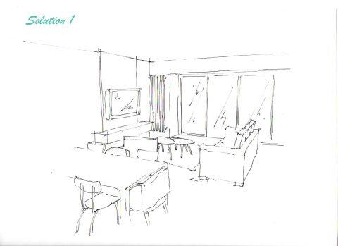 Perspective du Projet n°1, Vue de l'entrée.