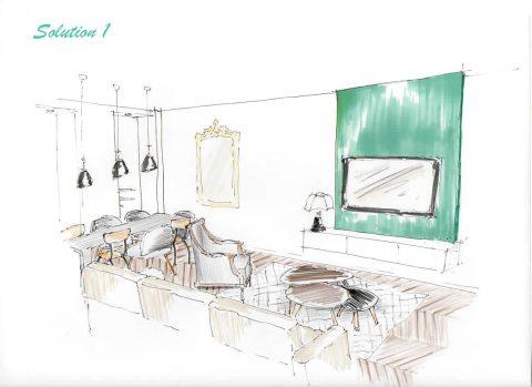 Perspective du Projet n°1, Vue du buffet.