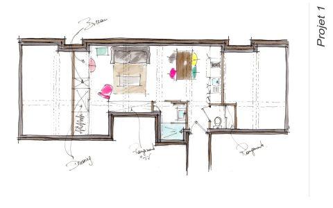 Croquis du plan Projet 1 de l'appartement locatif Lyon 3
