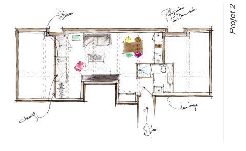Croquis du plan Projet 2 de l'appartement locatif Lyon 3