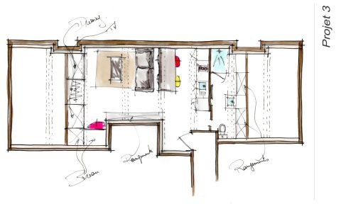 Croquis du plan Projet 3 de l'appartement locatif Lyon 3