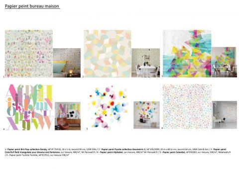 Proposition de papier peint pour le bureau. Des panneaux très colorés pour casser avec la pièce de vie.