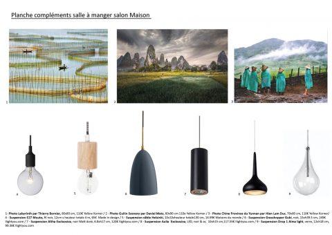 Planche mobilier luminaires suspension et décors