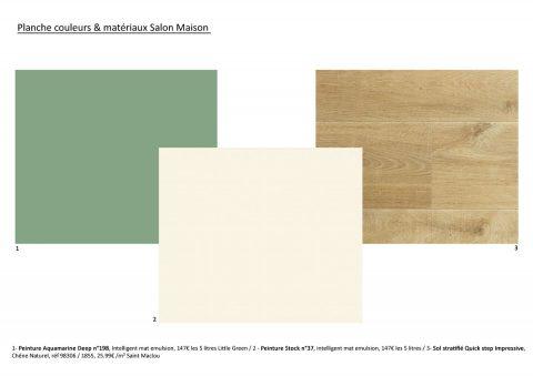 Proposition couleur pour la pièce de vie, vert, bois et blanc.