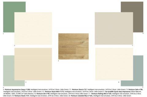 Proposition de couleur pour la pièce de vie, des ton neutre chaud, du vert et du bois.