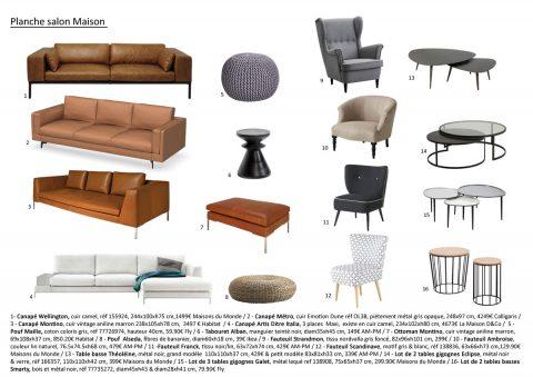 Planche mobilier, proposition de canapés, tables basses et fauteuils.