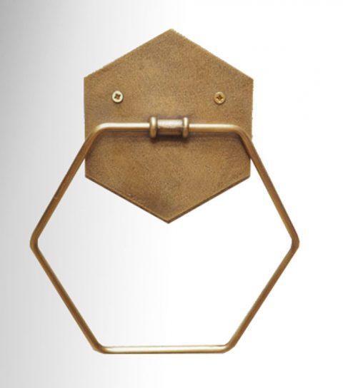 Porte serviette en laiton de forme hexagonale