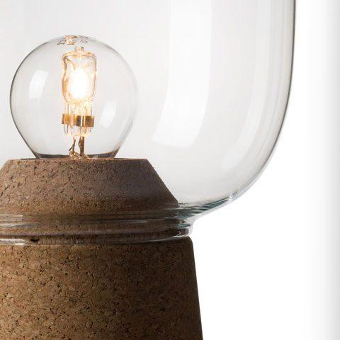 Picia Lampe à poser en verre avec une base en liège