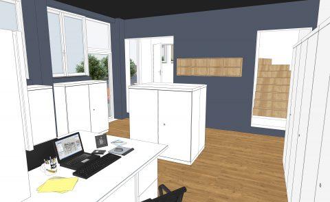 visuel 3D du bureau des secrétaires