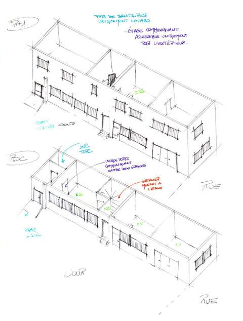 Croquis de travail pour visualiser les points forts et les points faibles du bâtiment.