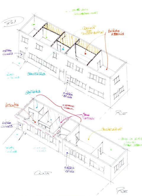 Croquis de travail pour visualiser l'aménagement du bâtiment.