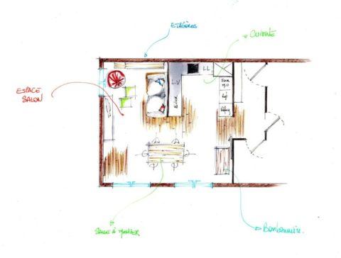 Croquis d'un plan d'aménagement d'une pièce de vie.