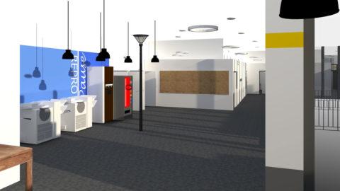 Visuel 3D du couloir de distribution , de la reprographie et de la pause.