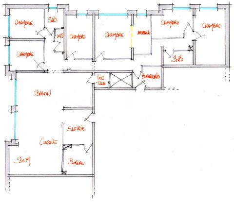 Croquis d'aménagement d'un local en 1 appartement. (proposition 1)