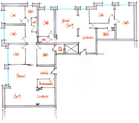 Croquis d'aménagement d'un local en 2 appartements. (proposition 3)