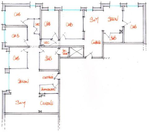 Croquis d'aménagement d'un local en 2 appartements. (proposition 2)