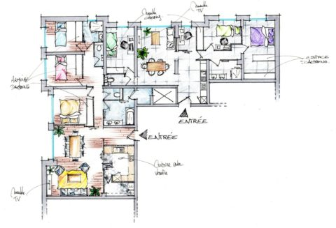 Croquis du plan d'aménagement du cabinet de kiné en appartement